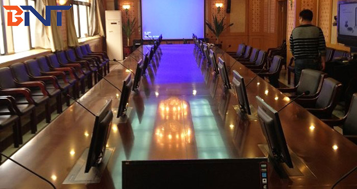17 units BML1-17 monitor lift and microphone on the hotel training meeting room in Hangzhou, China