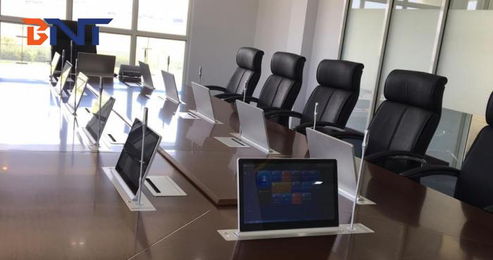 BNT BLM-17.3 Ultra-thin display lifter with microphone synchronous lifting for a high-level conference room project in a company in Papua New Guinea