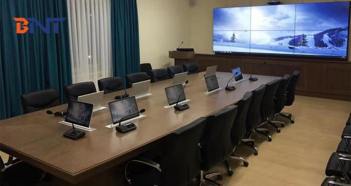 Ultra-thin motorized rectactable screen for the advanced conference room project of the Kazakhstan goverment