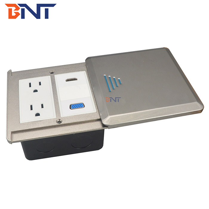 Media floor socket with sliding cover FS26